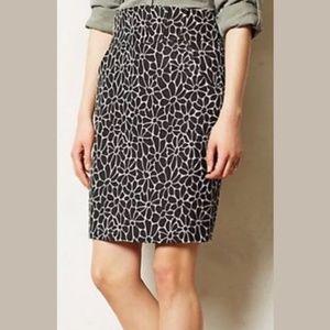 Anthropologie Maeve Bellis Black Floral Skirt Sz 0